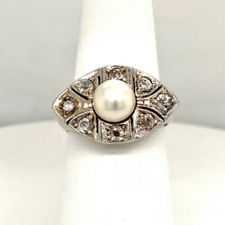 Pretty Vintage 1930and039s .50ct Diamond And Pearl Ring