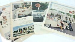 Gulf Vintage Ad Lot Of 4 1950s Print Gasoline Pumps Automobile Oil Gas Station