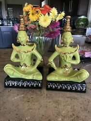 """Stunning 1940s/50s Pair 13.5"""" Asian Theme Siamese Table Tv Lamps Mint"""