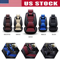 Luxury 5-sit Pu Leather Seat Covers Full Set Girl Car Front Rear Car Accessories