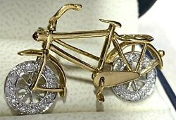Vintage Bicycle Pin 18k Gold 24 Diamonds And 2 Rubys Articulated Parts Rare Brooch