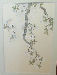 Two Parakeet On Blossoms Huge Watercolor On Silk Painting Unsigned