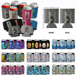 6 Pcs Can Bottle Cooler Wrap Sleeves Collapsible Holder For Soda Beer Can Drink