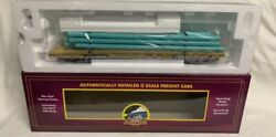✅mth Premier Ttx 60' Flat Car With Pipe Load Trailer Train O Scale Freight Green