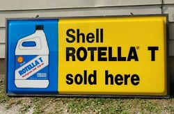 Vintage Large Shell Motor Oil Rotella T Advertising Lighted Sign 73 Rare