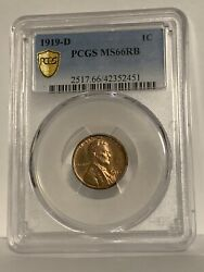 1919 D Lincoln Penny Pcgs Ms66rb