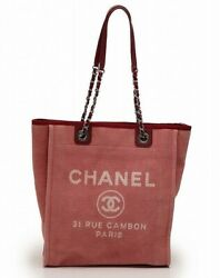 Deauville Tote Bag Chain Canvas Leather Pink Red A66939 Silver