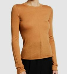 275 Rag And Bone Womenand039s Beige Long-sleeve Crew-neck Cashmere Top Size Medium