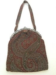 Antique Victorian Tapestry Cloth And Beaded Purse Sterling Silver Ornate Frame