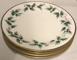 4 Nice Mikasa Ribbon Holly Dinner Plates With Gold Trim Bone China Discontinued