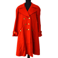 Vintage Cc Logos Button Long Sleeve Coat Jacket Red 94a 34 Gs01304f
