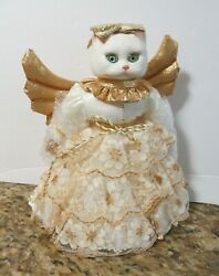 New In Box Goebel By Bette Ball 9 White And Gold Angel Cat Doll Tree Topper