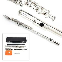 Nickel Plated 16 Closed Hole C Tone Silver Flute Student Instrument For Beginner