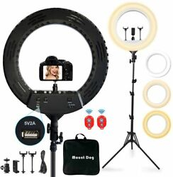 18 Ring Light With 3 Phone Holders, Mountdog Led Ring Light With 79 Tripod