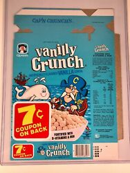 Rare Vintage Quaker Capand039n Crunch Vanilly Cereal Box Wilma Whale Mint Unused
