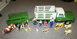 Vintage Nylint Stake Truck And Trailer Farm Set W/animals And Farmer Family