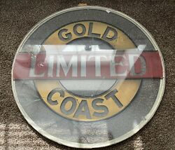 Gold Coast Limited Union Pacific Observation Drumhead Glass Railroad Train Drum