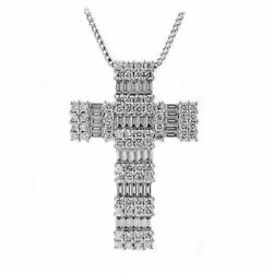 2.21ct Natural Round And Baguette Ijsi1 Diamond Cross Pendant In 14k White Gold
