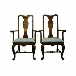Set Of 2 Rare Ethan Allen Classic Manor Solid Maple Queen Anne Style Dining A...