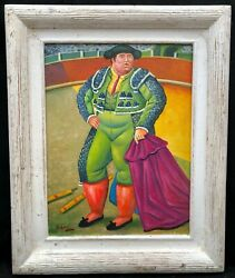 1970s South American Oil Painting Of Bull Fighter In Manner Of Botero