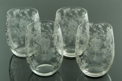 4 Rare Cambridge Rose Point Bellied Tumblers 3400 Elegant Etched Glass