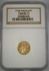 2002 Ngc Ms70 5 1/10 Ounce Gold Eagle Coins Early Grade