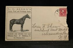 Vermont Middlebury 1913 Allen Horse Livery Advertising Cover + Letter
