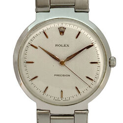 Rolex Precision 9083 Hand Winding Silver Dial Stainless Mens
