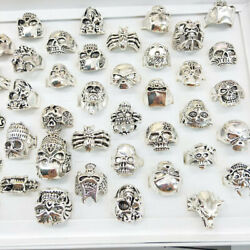24/50pc Wholesale Lots Gothic Punk Skull Antique Silver Rings Mixed Band Jewelry