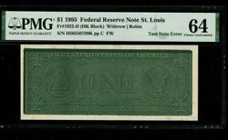 1995 1.00 Frn Test Note Escaped Bep Pmg--64