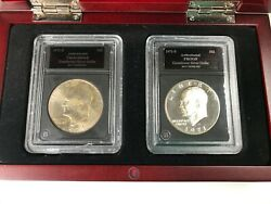 Bradford Authenticated - The 1971 S Eisenhower Silver Dollar Set See Photos Each