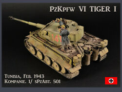 Pro-built 1/35 Tiger I Tunisia Dak German Tank Finished Model With Crew Preorder