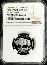 1997 Platinum Canada 661 Minted 150 Wood Bison 1/2 Oz Ngc Proof 69 Ultra Cameo