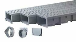 Drainage Trench - Channel Drain With Grate - Gray Plastic - 3 X 39 - 117 Tota