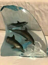 Wyland Lucite Sculpture Dolphin Tribe Limited Edition Sold Out Edition