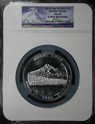 2010 Atb 5 Oz Silver 25c Mount Hood National Park Oregon Ngc Ms-69 Early Release