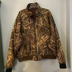 Herters Mens Hunting Jacket Brown Green Camouflage Zipper Pockets 2xl Revers