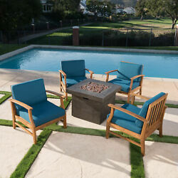 Easter Outdoor 4 Seat Teak Finished Acacia Wood Club Chairs Fire Pit Chat Set