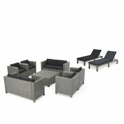 Portofino Outdoor 10 Piece Wicker Patio Set With Water Resistant Cushions