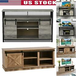 Rustic Farmhouse Sliding Barn Door Tv Stand Console Table Cabinet 50/46 Us