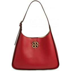 NWT TORY BURCH Miller Hobo Shoulder Classic Leather Logan Berry 79324 FREE SHP $448.00