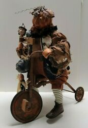 Bethany Lowe Halloween Pumpkin Man Riding Antique Tricycle