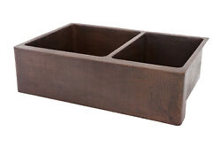 Ka60db33229 33and039and039 Copper Kitchen Double Farm Sink
