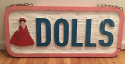 Reclaimed Antique Store Sign Carved Wood Sign Dolls Unique Headboard