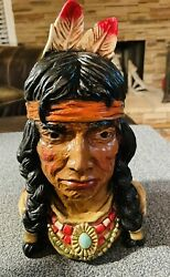 Vintage American Indian Head Bust 11 Inch 1966 Universal Statuary Chicago Navajo