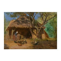 """French Antique Barbizon Oil Painting Of Feeding The Chickens"""", C. 1870s, Signed"""