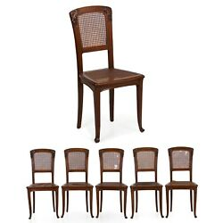 Art Nouveau Set Of Six Carved Walnut Dining Chairs, France, 20th Century