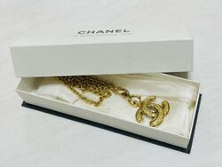 Necklace Quilted Coco Mark Vintage Gold Plate Chain 72cm W/box Women