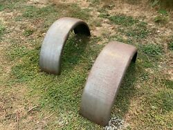 Vintage Rat Hot Rod 9 Inch Steel Fender Pair W/ Patina Ford Chevy Dodge Chopper