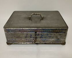 Rare Antique Victorian Etched Steel Strongbox Strong Box Safe With Key